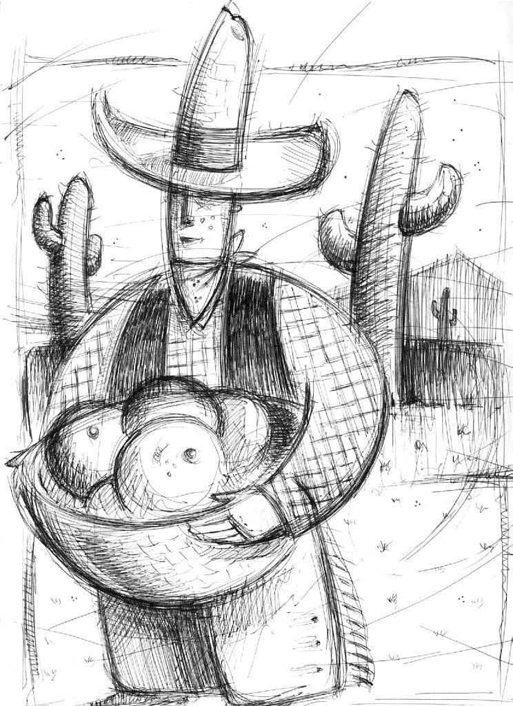 Cow boy sketch